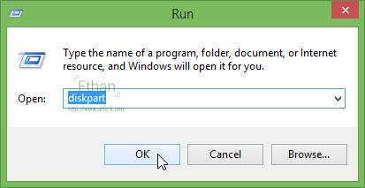 Windows R Keyboard Windows Run diskpart Enter diskpart
