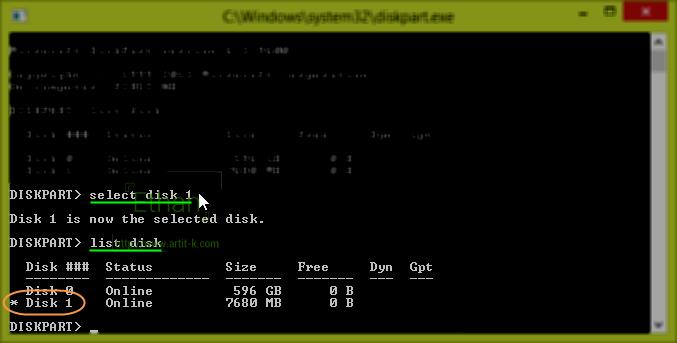 select disk 1 USB Drive