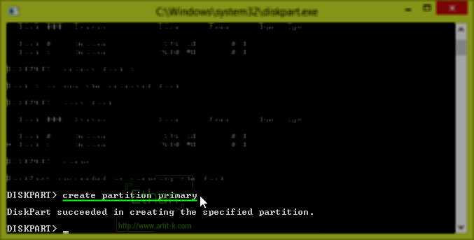 create partition primary Partition