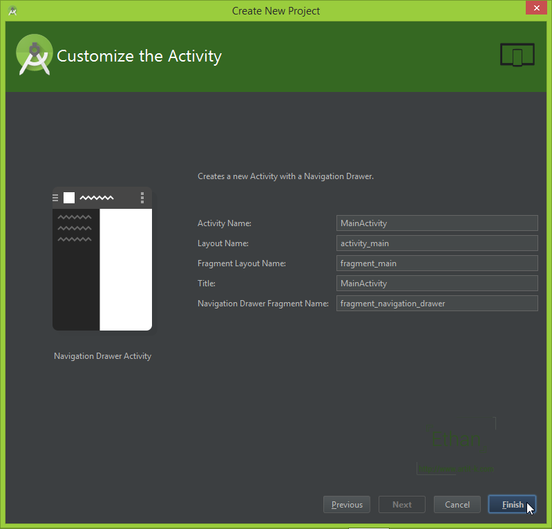 android studio how to create class appindex